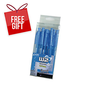 G SOFT W2 RETRACTABLE BALLPOINT BLUE PEN 0.7MM  - PACK OF 15