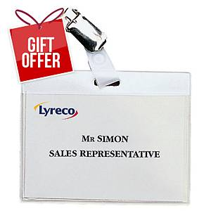 Lyreco Clip Badges 60x90mm - Pack Of 30