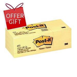 Post-it 653 Yellow Notes 1-3/8 inch x 1-7/8 inch - Pack of 12