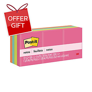 POST-IT 653AN NEON NOTES 1.5   X 2   - 4 NEON COLOURS - PACK OF 12