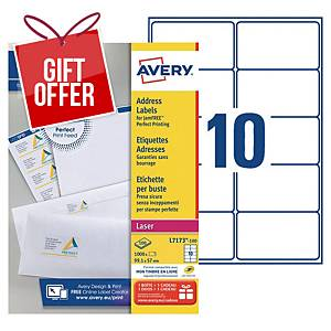 Avery L7173 laser labels Jam Free 99,1x57mm - box of 1000
