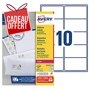 Etiquette adresse Avery - L7173-100 - 99,1 x 57 mm - blanche - boîte de 1000