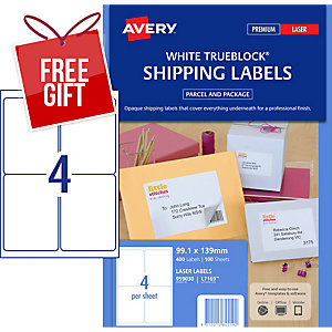 AVERY TRUEBLOCK SHIPPING LABELS FOR LASER PRINTERS, 99.1X139MM, 400 LABELS L7169
