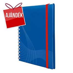Notizio jegyzetfüzet kemény boritóval és fém spirállal, A5, négyzethálós, kék