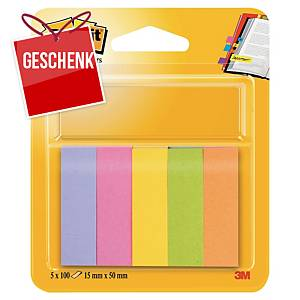 3M Post-it® 670 Page-Marker aus Papier, Pack. 5 lustige Farben zu 100 Blatt