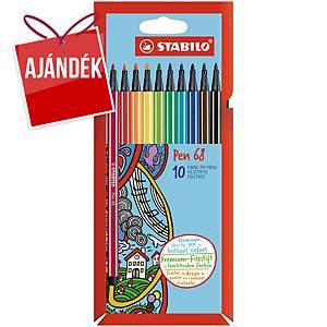 Stabilo Pen 68 filctoll, 10 szín/csomag