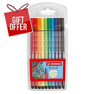 Stabilo 68 Fibre Tip Pens Assorted Wallet of 10