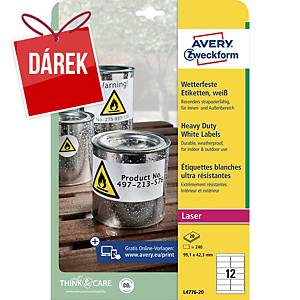Odolné etikety Avery, polyester, 99,1 x 42,3 mm, bílé, 12 ks/list