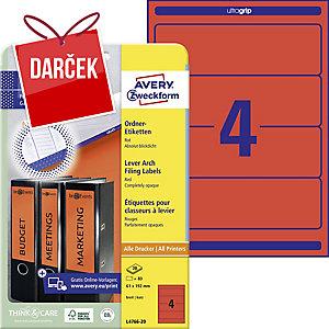 Etikety na zakladač Avery Zweckform, červená, rozmer 192 x 61 model L4766-20