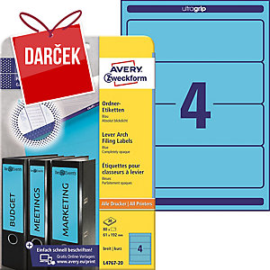 Etikety na zakladač Avery Zweckform, farba modrá, rozmer 192 x 61 model L4767-20