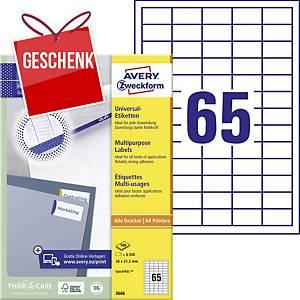 Avery Universal-Etiketten, 3666, 38 x 21,2 mm, 65 Etiketten/Blatt