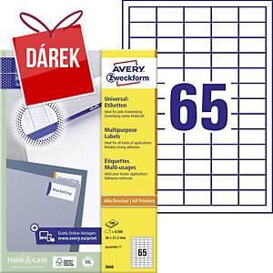 Univerzální etikety Avery, 3666, 38 x 21,2 mm, 65 etiket/list
