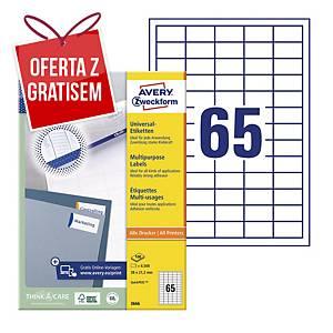 Trwałe etykiety uniwersalne AVERY ZWECKFORM 38x21,2mm, białe, 6500 etykiet