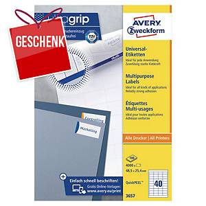Avery Universal-Etiketten, 3657, 48,5 x 25,4 mm, 40 Etiketten/Blatt