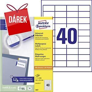 Univerzální etikety Avery, 3657, 48,5 x 25,4 mm, 40 etiket/list