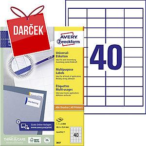 Univerzálne etikety Avery, 3657, 48,5 x 25,4 mm, 40 etikiet/hárok