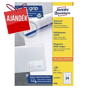 Avery Zweckform 3658 univerzális etikettek 64,6 x 33,8 mm, 24 etikett/ív, 100 ív