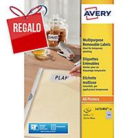 Caja 4725 etiquetas removibles AVERY L4731REV-25 cantos romos 25,4x10mm blancas