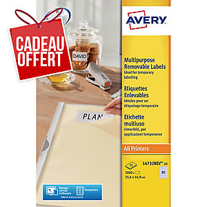 Etiquette enlevable Avery - L4732REV-25 - 35,6 x 16,9 mm - blanche - par 2000