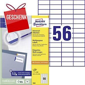 Avery Universal-Etiketten, 52,5 x 21,2 mm, weiß, 56 Etiketten/ Blatt