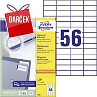 Univerzálne etikety Avery, 52,5 x 21,2 mm, biele, 56 etikiet/ hárok