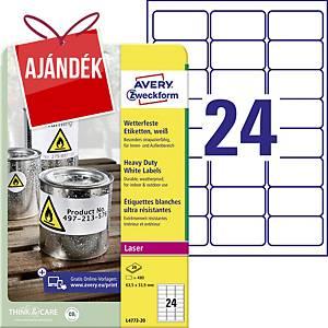 Avery címke, poliészter, 63,5 x 33,9 mm, fehér, 24 címke/ív