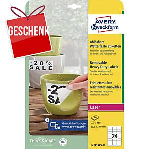 Avery Etiketten, Polyester, 63,5 x 33,9 mm, weiß, 24 Etiketten/Blatt