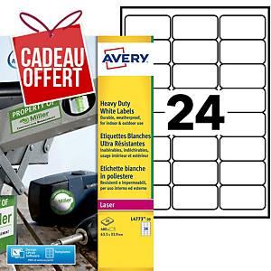 Etiquette ultra-résistante Avery - L4773-20 - 63,5 x 33,9 mm - blanche - par 480