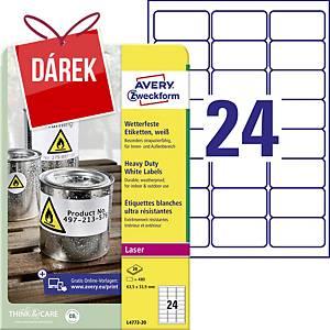 Odolné etikety Avery, polyester, 63,5 x 33,9 mm, bílé, 24 ks/list