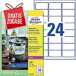 Folien-Etiketten Avery Zweckform L4773-20 63,5x33,9(LxB) we 20Blatt/480Etiketten