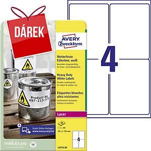 Velmi odolné etikety Avery, polyester, 99,1 x 139 mm, bílé, 4 etikety/list
