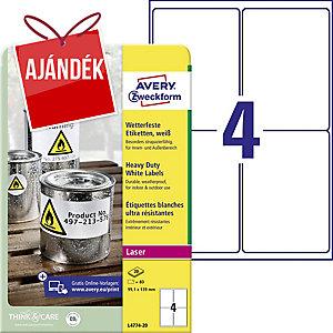 Avery L4774-20 poliészter fehér etikettek 99,1 x 139 mm, 4 etikett/ív, 20 ív