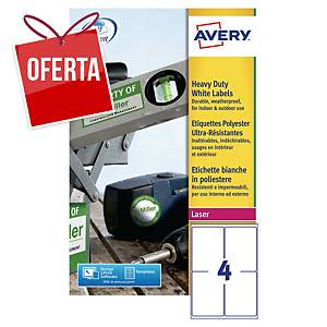 Pack de 80 etiquetas adesivas Avery L4774-20 - 99,1 x 139 mm - branco