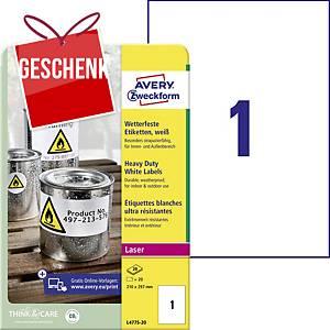 Avery Etiketten, Polyester, 210 x 297 mm, weiß, 1 Etikett/Blatt