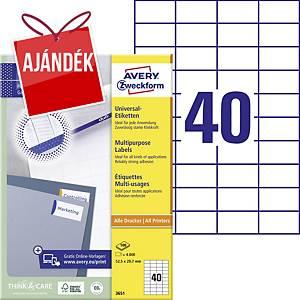 Avery Zweckform 3651 univerzális etikettek 52,5 x 29,7 mm, 40 etikett/ív, 100 ív