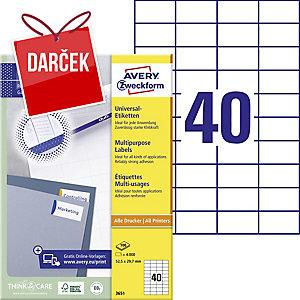 Univerzálne etikety Avery, 3651, 52,5 x 29,7 mm, 40 etikiet/hárok