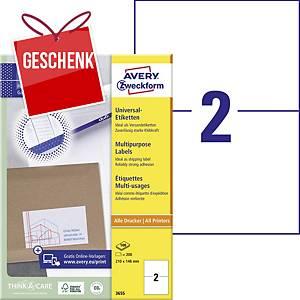 Avery Universal-Etiketten, 3655, 210 x 148 mm, 2 Etiketten/Blatt