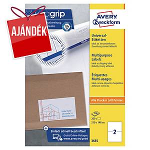 Avery Zweckform 3655 univerzális etikettek 210 x 148 mm, 2 etikett/ív, 100 ív