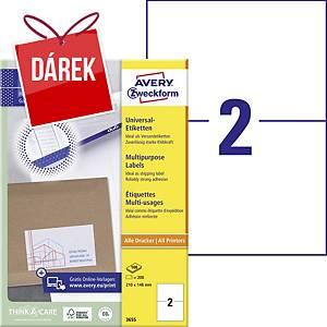 Univerzální etikety Avery, 3655, 210 x 148 mm, 2 etikety/list