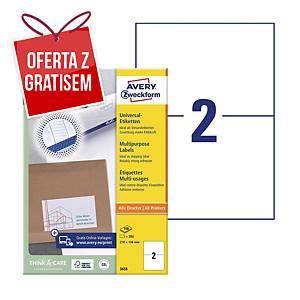 Trwałe etykiety uniwersalne AVERY ZWECKFORM 210 x 148mm, białe, 200 etykiet