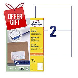 AVERY INKJET/LASER/COPIER LABELS WHITE 3655 - 210 X 148MM - BOX OF 200
