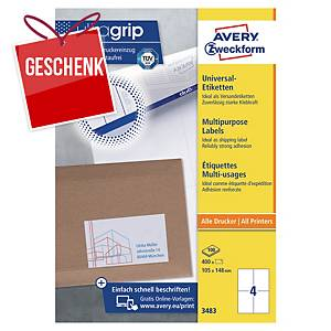 Avery Universal-Etiketten,3483, 105 x 148 mm, 4 Etiketten/Blatt