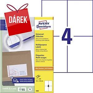Univerzální etikety Avery, 3483, 105 x 148 mm, 4 etikety/list