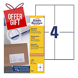 AVERY INKJET/LASER/COPIER LABELS WHITE 3483 - 105 X 148MM - BOX OF 400