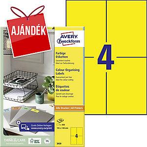 Avery 3459 sárga univerzális etikettek 105 x 148 mm, 4 etikett/ív, 100 ív/csomag