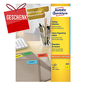 Etiketten Avery 3459, 105 x 148mm, gelb, 400 Stück