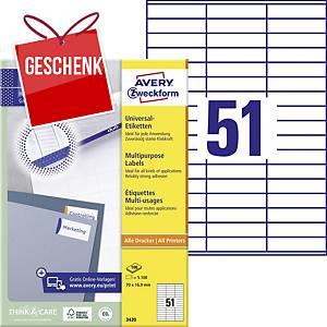 Avery Universal-Etiketten, 3420, 70 x 16,9 mm, 51 Etiketten/Blatt