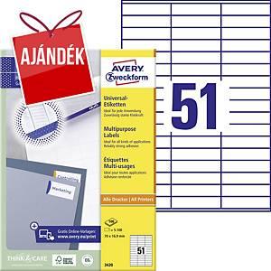 Avery Zweckform 3420 univerzális etikettek 70 x 16,9 mm, 51 etikett/ív, 100 ív