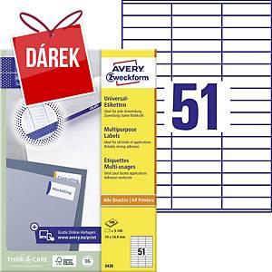 Univerzální etikety Avery, 3420, 70 x 16,9 mm, 51 etiket/list