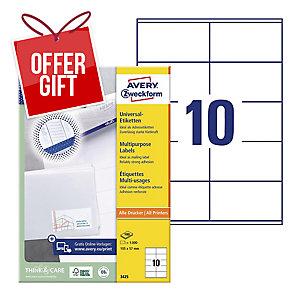 AVERY INKJET/LASER/COPIER LABELS WHITE 3425 - 105 X 57MM - BOX OF 1000